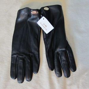 NWT Coach Basic Leather Gloves Black F85876  7 1/2